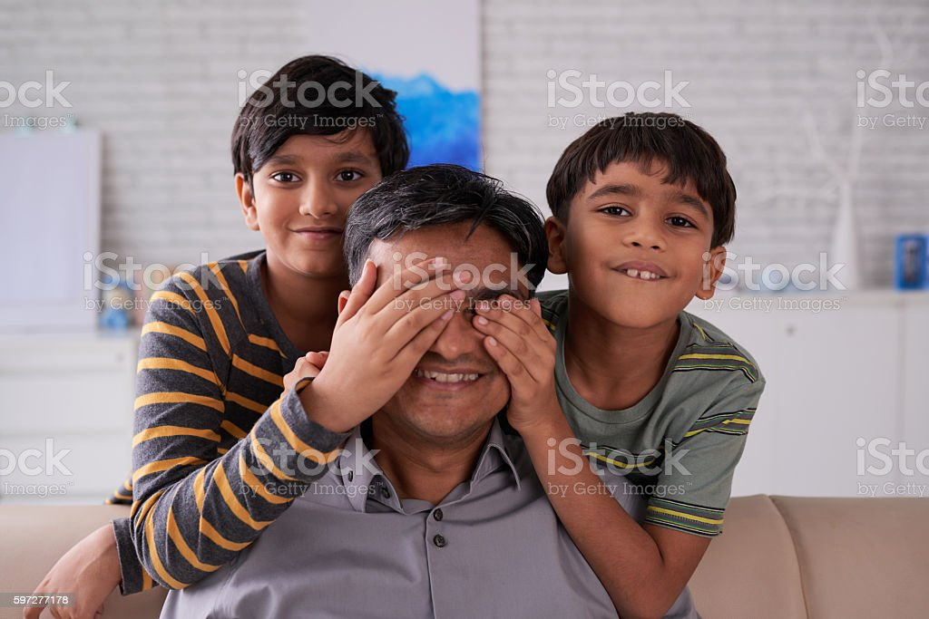 Covering eyes stock photo