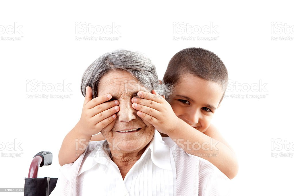 Covering grandmother's eyes royalty-free stock photo