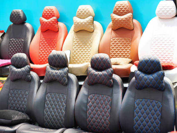 Covers for car seats in store stock photo