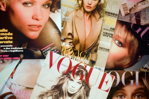 Madrid, Spain - September 06th 2011: Some covers of Vogue, fashion and lifestyle magazine from 1892.