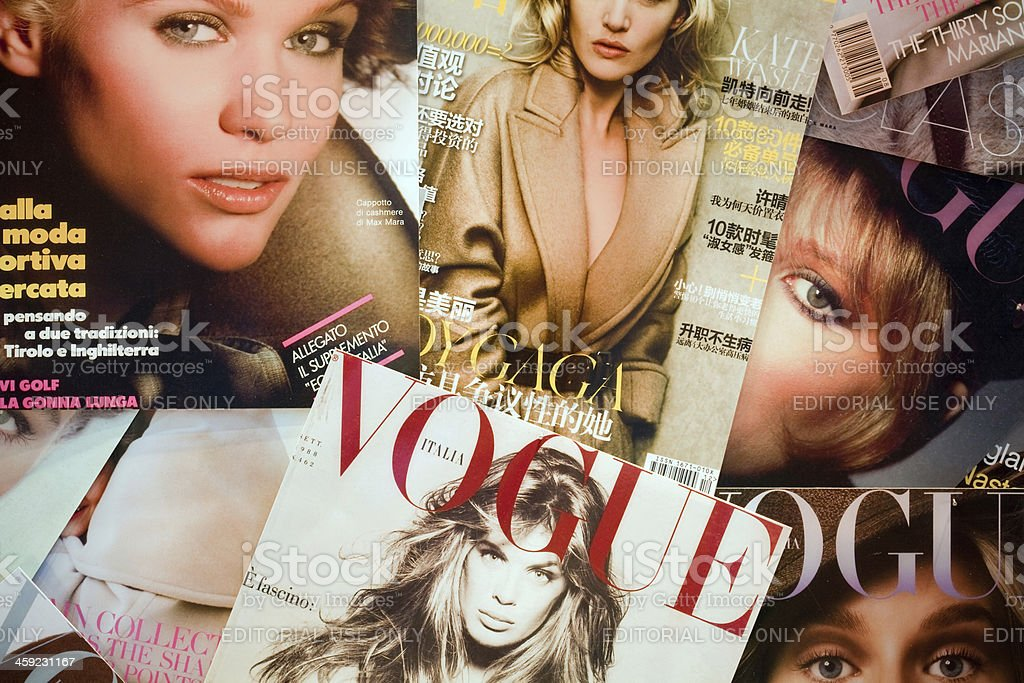 Covers of Vogue stock photo