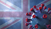 istock Covid british and england variant, covid-19 virus with english flag 1296503894