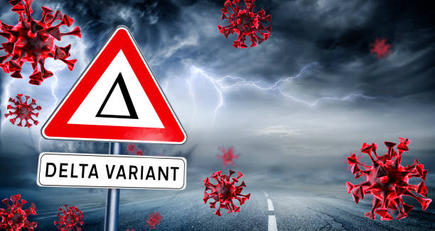 Covid Delta Variant - Covid-19 Mutation - Danger Road Sign In The Storm - contain 3d Rendering stock photo