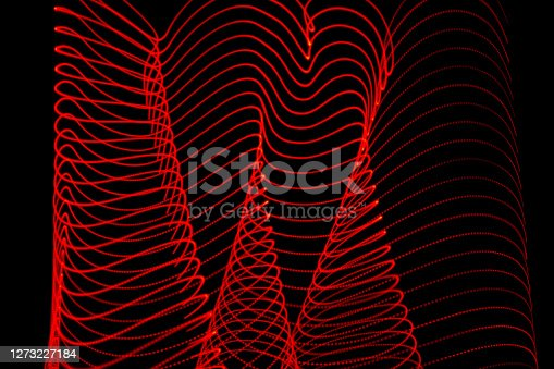 Covid virus structure abstract red led light trail painting background