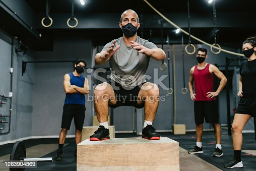 Covid19: Athletes during training at the gym