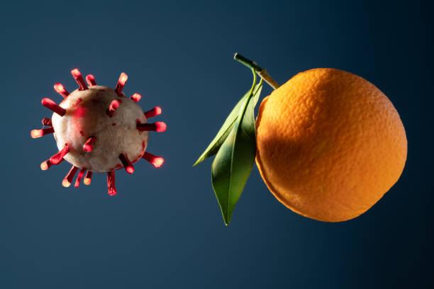 Covid-19 Coronavirus And Orange stock photo