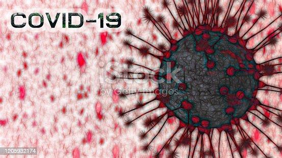 Covid-19 Coronavirus cells microscopic view