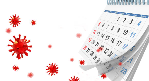 covid-19 coronavirus outbreak calenadar words text virus days for background space for your text  - 3d rendering covid-19 coronavirus outbreak calenadar words text virus days for background space for your text  - 3d rendering covid icon stock pictures, royalty-free photos & images