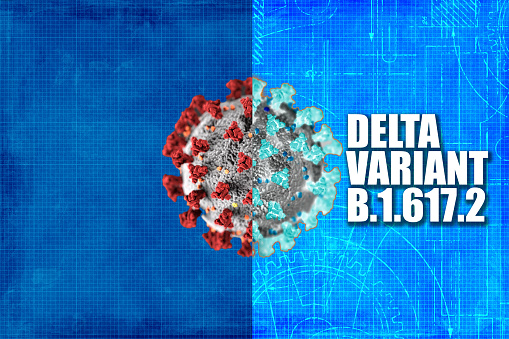Covid-19 Delta Variant concept with graphics