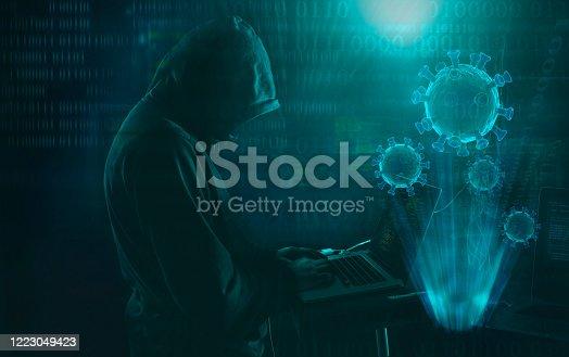 hacker  phishing scam during coronavirus pandemic cyber security concept