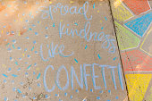 Covid-19 Inspirational Sidewalk Chalk Art. Colorful and creative sidewalk chalk art to inspire safety and hope during this uncertain time of the coronavirus of 2020.