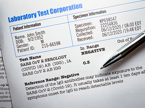 Covid-19 laboratory test report ++all names and numbers are fictitious++ Created by photographer++