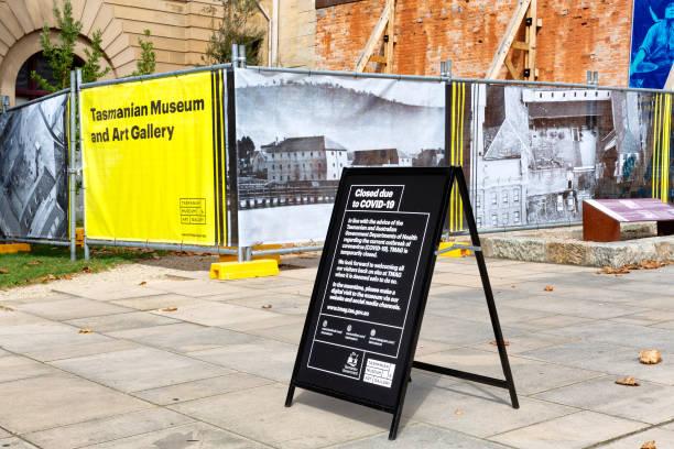 Covid-19 Museum closure sign stock photo