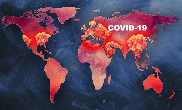 covid-19 pandemic outbreak infected world map stock photo