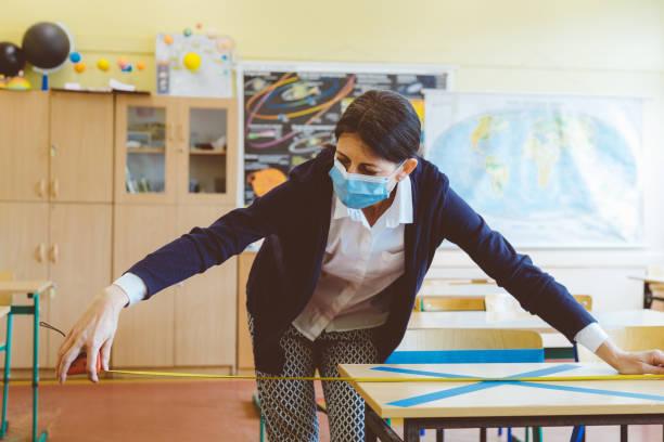 Covid-19 Der Lehrer markiert leere Plätze im Klassenzimmer – Foto