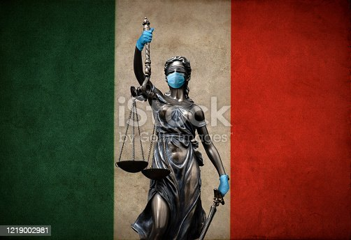 Justice lawyer corona concept in Italy