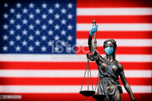 Justice lawyer corona concept in USA