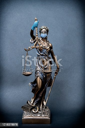 Justice lawyer corona concept