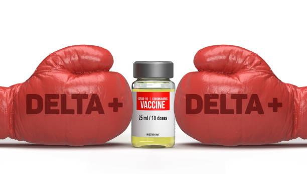 Covid-19 virus mutating into Delta plus variant stock photo