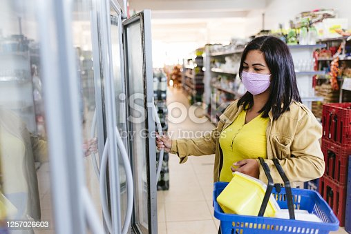 Shopping at the supermarket during the coronavirus pandemic.