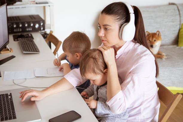 Covid19 working from home young mother works online at home with her picture id1214465129?b=1&k=6&m=1214465129&s=612x612&w=0&h=vq iw wqjkyzkh fbc0g0lm4jlwikgefdiatx9lzjjw=