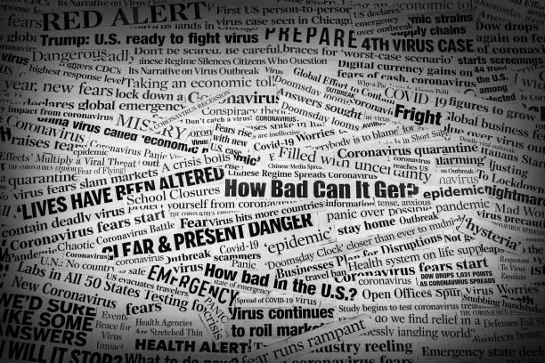 Covid_COVID19 Coronavirus Newspaper Headline Collage Dark vignette stock photo