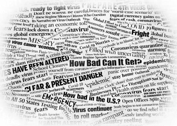 Covid_COVID19 Coronavirus Newspaper Headline Collage white vignette stock photo