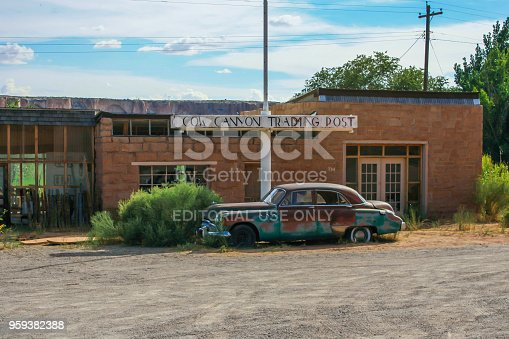 The iconic old Buick planted in front of the Cow Canyon Trading Post in Bluff, Utah.