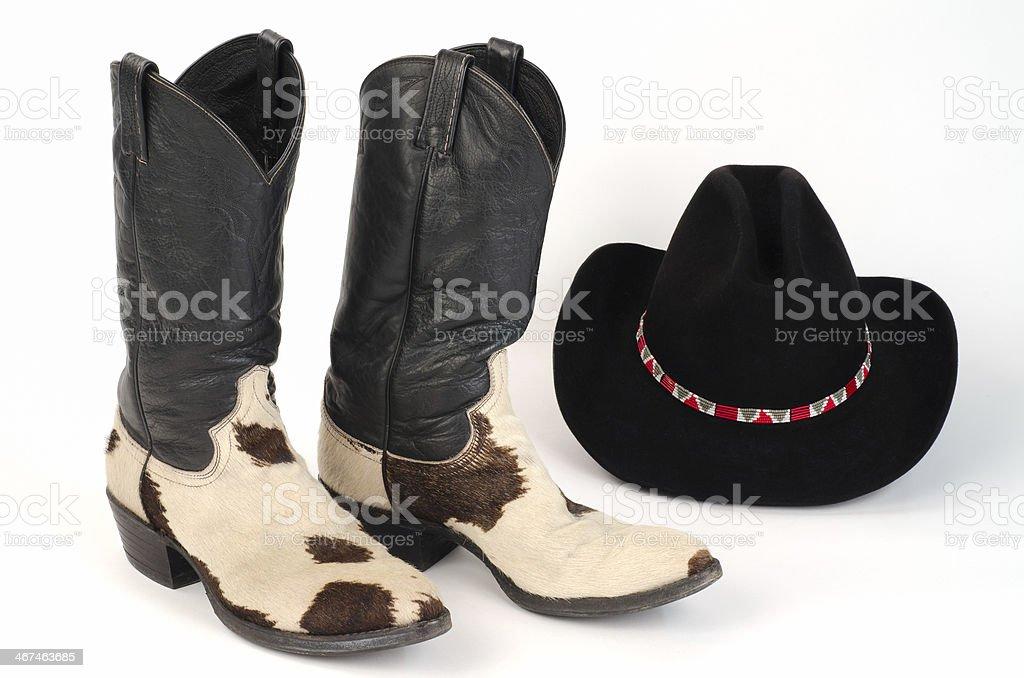 Botas de vaquero cuero de vaca y Stetson sombrero. foto de stock libre de  derechos 0008e628e18