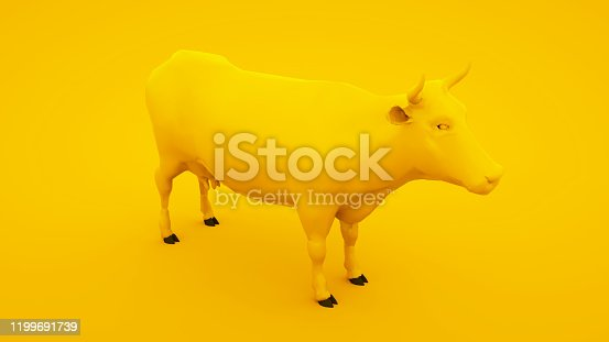 624869600 istock photo Cow isolated on yellow background. Minimal idea concept, 3d illustration 1199691739