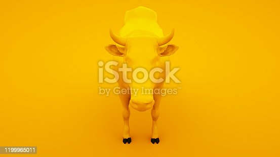 624869600 istock photo Cow isolated on yellow background. Minimal idea concept, 3d illustration 1199965011