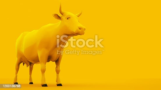 624869600 istock photo Cow isolated on yellow background. Minimal idea concept, 3d illustration 1200136768