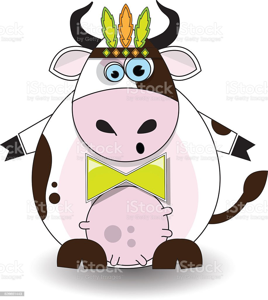 Cow with feathers stock photo