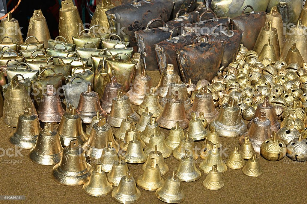 Cowbells and bells stock photo