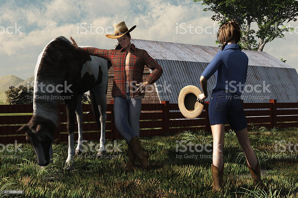 Cowboy and country girl stock photo