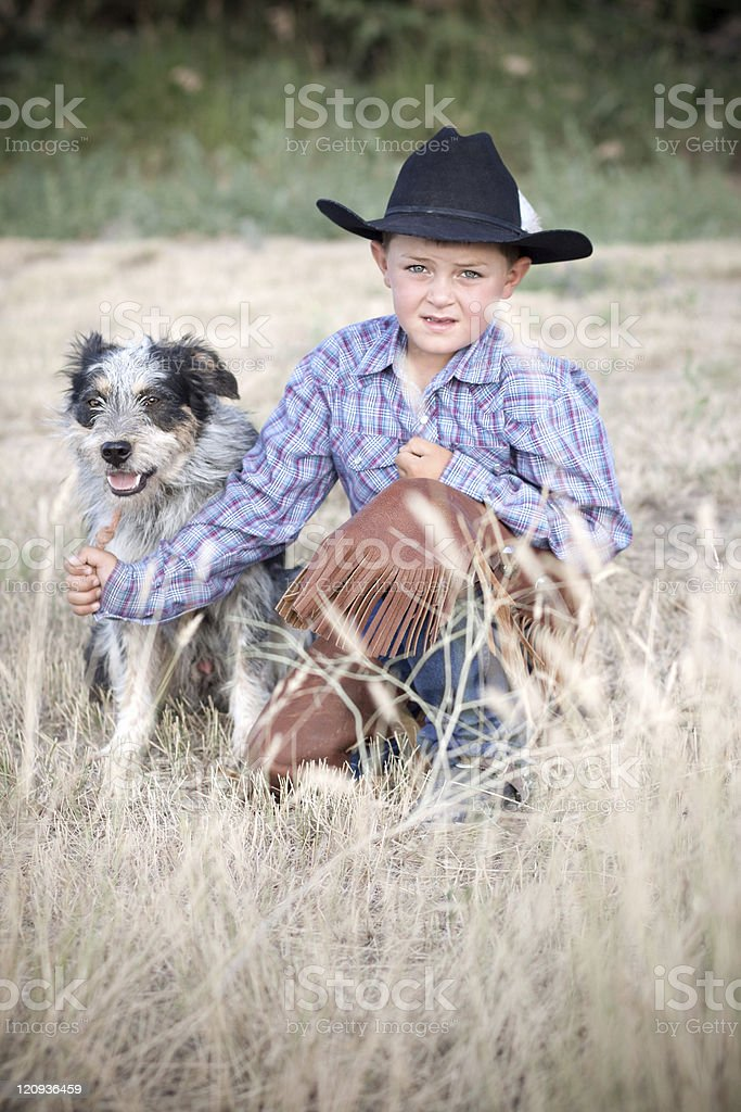 Cowboy and Dog royalty-free stock photo