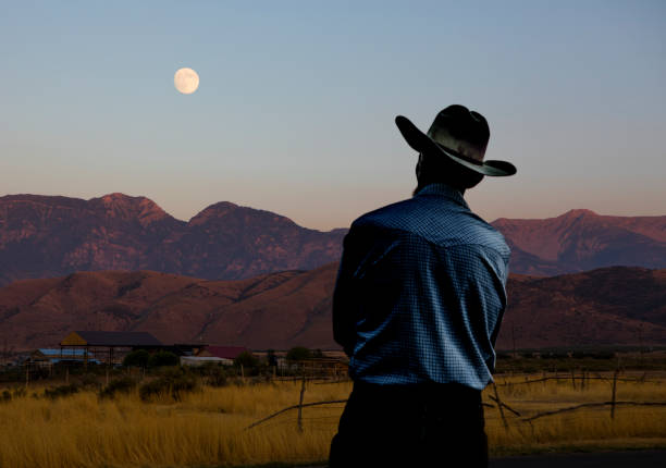 Cowboy and the Full Moon stock photo