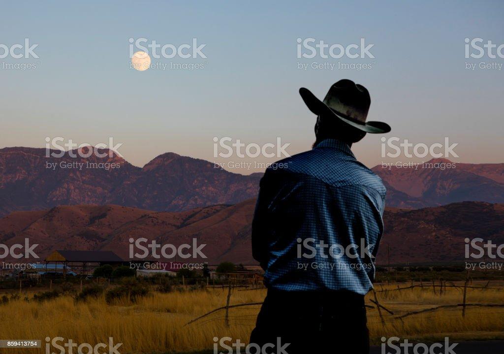 Cowboy und der Vollmond – Foto