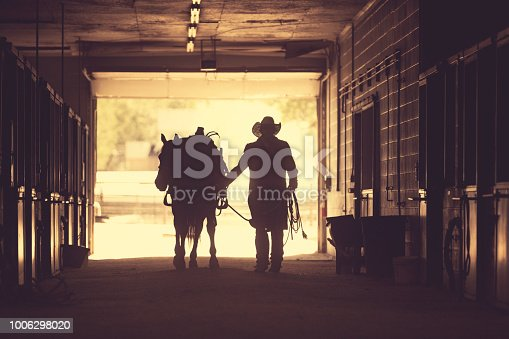 Cowboy at a horse stable