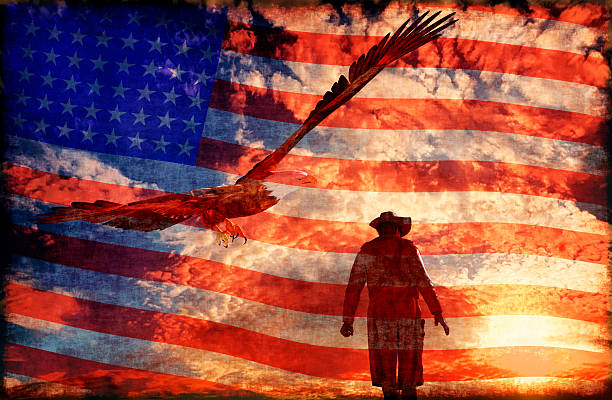 Cowboy at sunset background with an eagle - 3D rendering stock photo