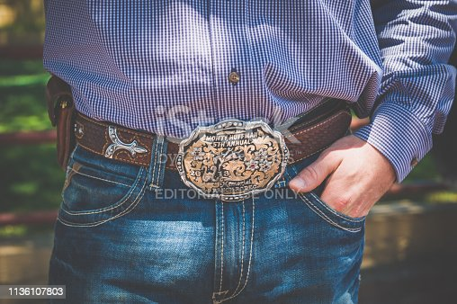 Fort Worth, Texas, USA - May 15, 2017 : A Cowboy belt close-up in Fort worth town.