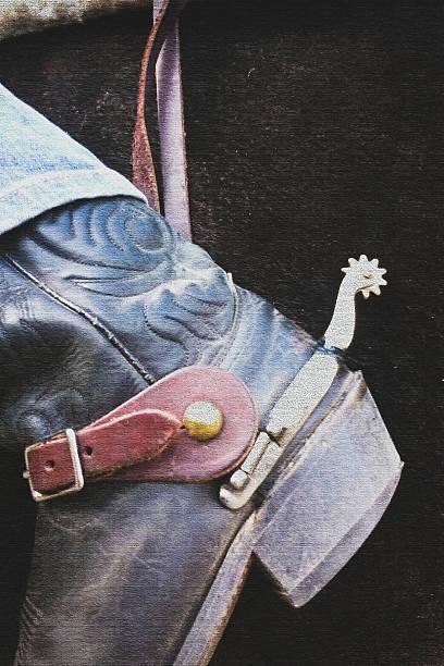 cowboy-stiefel mit spurs - malerei schuhe stock-fotos und bilder
