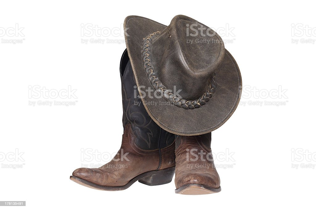 Cowboy boots and hat stock photo