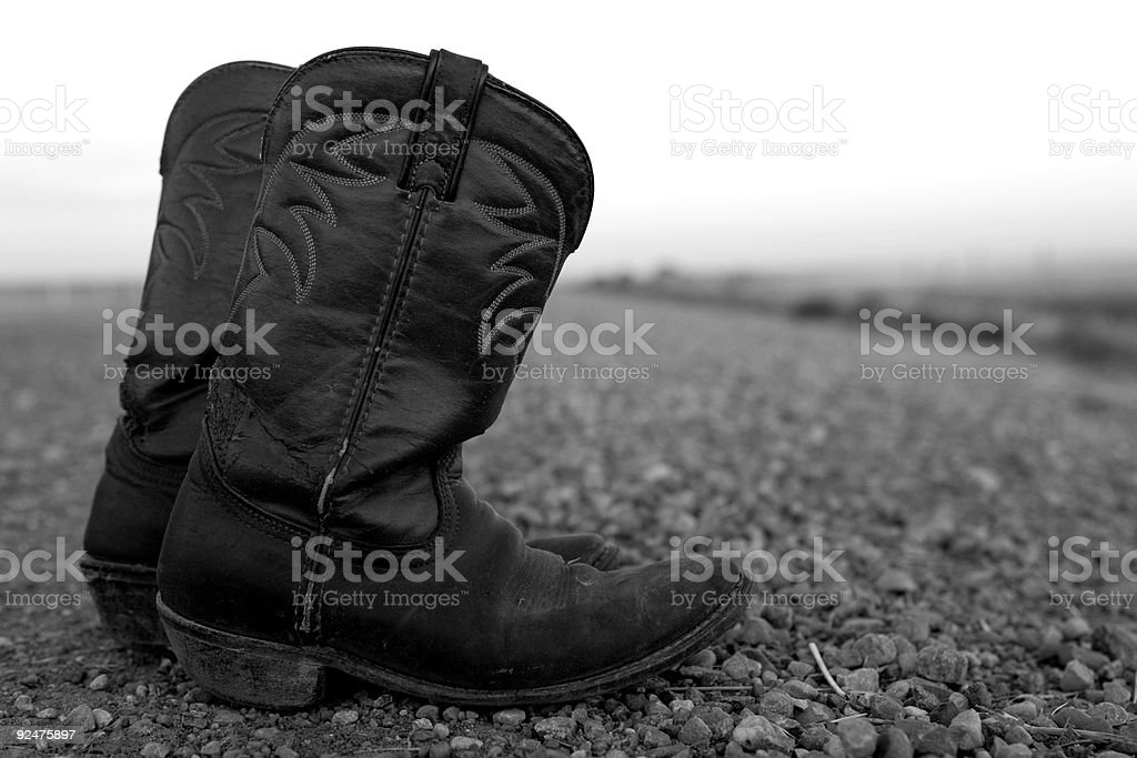 Cowboy Boots / Black and White royalty-free stock photo