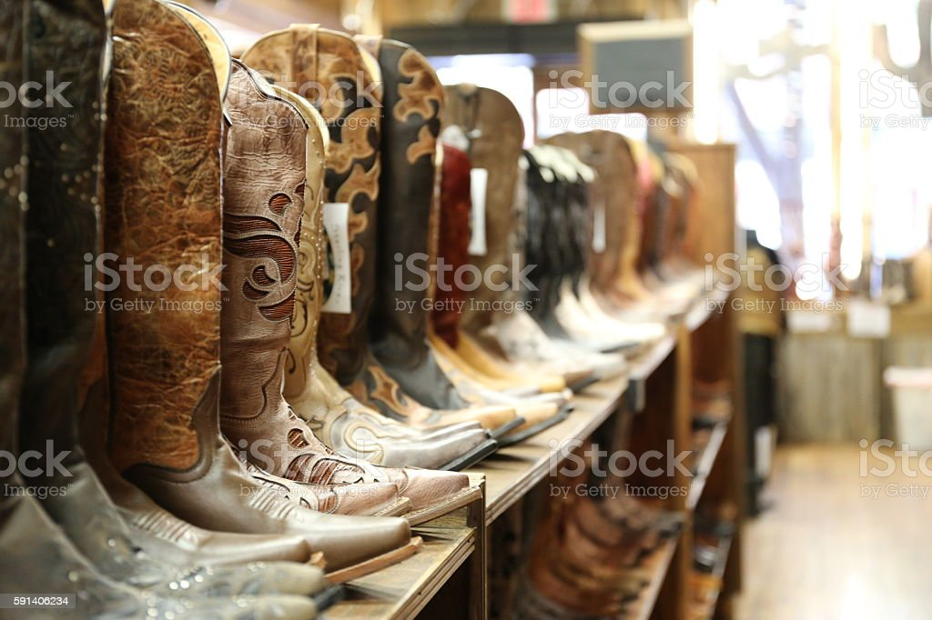 Cowboy boots for sale stock photo
