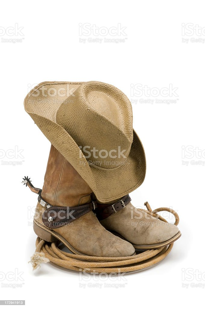Cowboy boots,hat,spurs & lasso-isolated on white stock photo