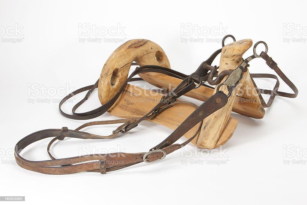 Cowboy Bridle and Saddle Frame stock photo