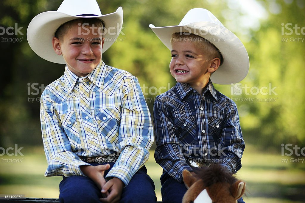 Cowboy Buddies stock photo