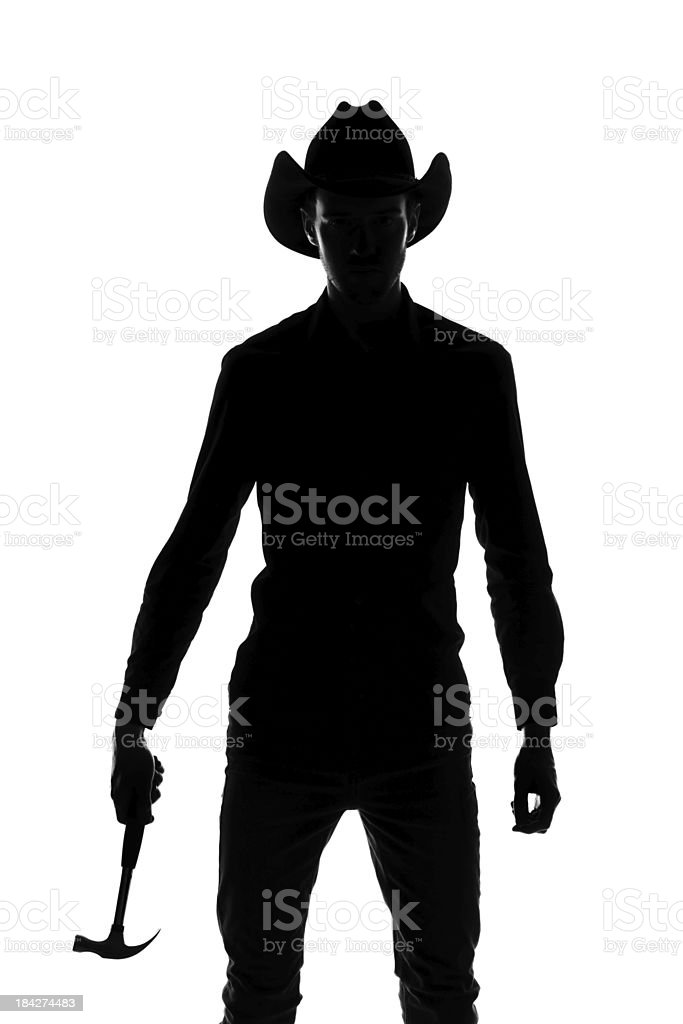 Cowboy builder silhouette royalty-free stock photo