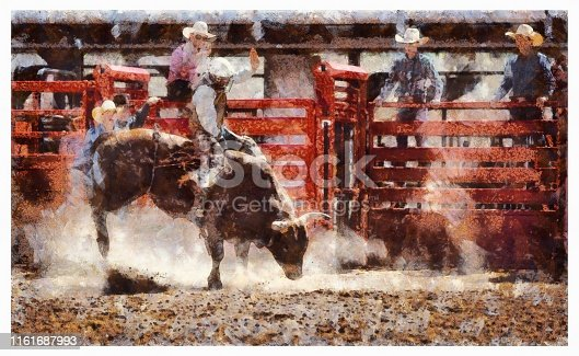 Cowboy Bull Riding in Rodeo Arena - digital photo manipulation